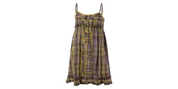 Dámske hnedo-zelené kockované šaty Bleifrei