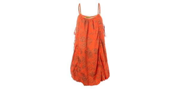 Dámske oranžové šaty so zeleným vzorom Bleifrei