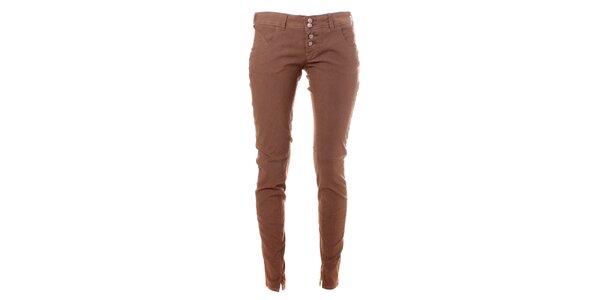 Dámske kávové skinny nohavice Bleifrei
