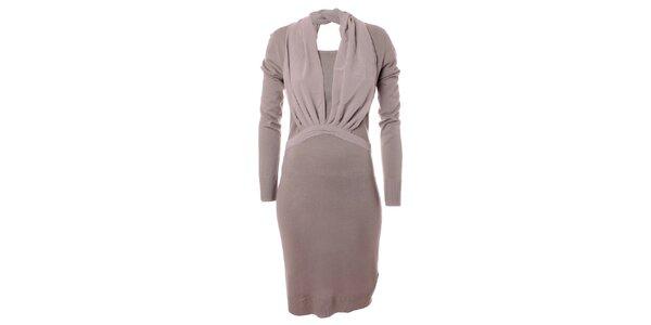 Dámske svetlo šedé úpletové šaty s šifónovým detailom Bleifrei