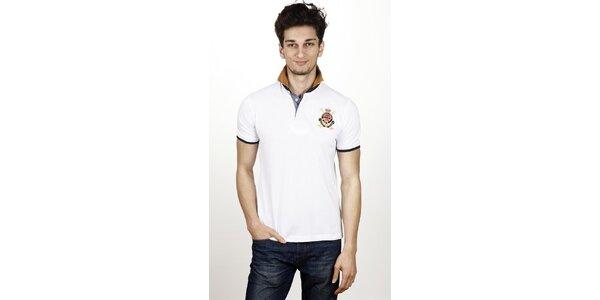 Pánske biele polo tričko s kontrastnými detailami Hackett