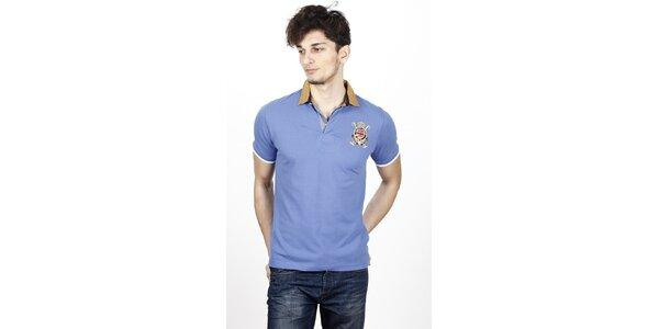 Pánske svetlo modré polo tričko s kontrastnými detailami Hackett