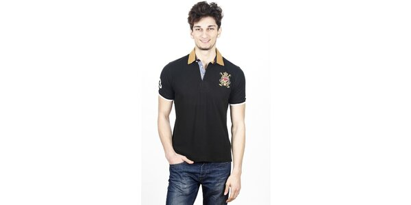 Pánske čierne polo tričko s kontrastnými detailami Hackett