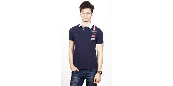 Pánske tmavo modré polo tričko Hackett s bielym límčekom