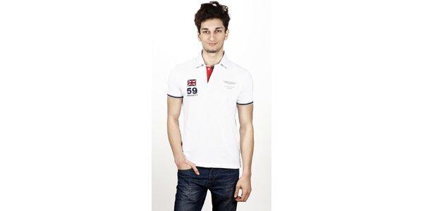 Pánske biele polo tričko Hackett s kontrastným pruhom na chrbte