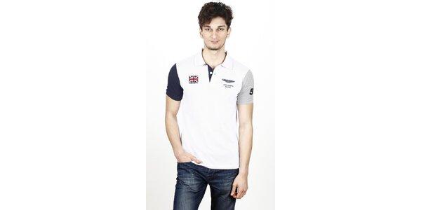 Pánske biele polo tričko Hackett s kontrastnými rukávmi