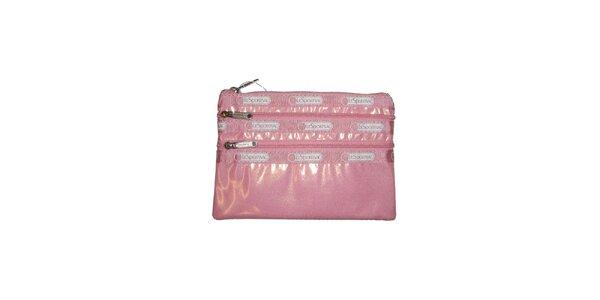 Dámska ružová lesklá taštička LeSportsac