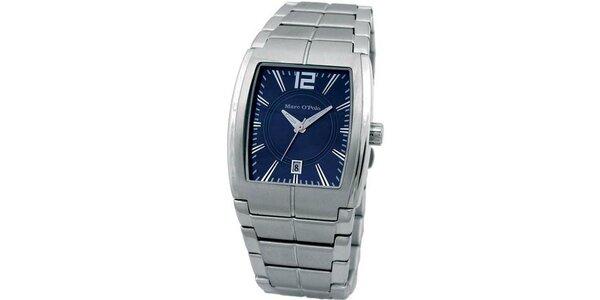Pánske modro-strieborné analogové hodinky Marc O´Polo