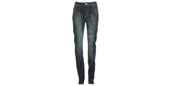 Dámske modré džínsy s ozdobnými švami Exe