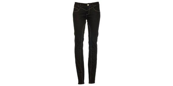 Dámske úzke čierne džínsy s presívaním Exe