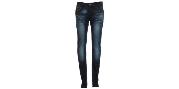 Dámske modré džínsy s šisováním Exe