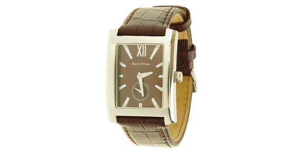 Pánske hnedé analogové hodinky Marc O´Polo