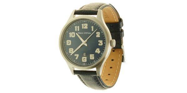 Pánske modré analogové hodinky s koženým remienkom Marc O´Polo