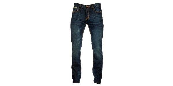 Pánske tmavo modré džínsy s výraznými vreckami Exe