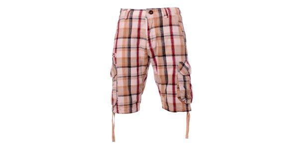 Pánske krémové kockované šortky Exe
