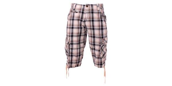 Pánske hnedo-krémové kockované krátke nohavice Exe