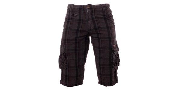 Pánske oceľovo šedé kockované krátke nohavice Exe