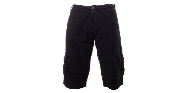 Pánske antracitové kockované šortky Exe