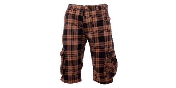 Pánske béžovo-čierne kockované krátke nohavice Exe