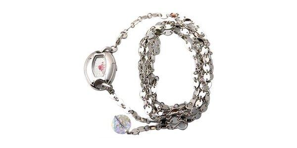 Dámske hodinky Mango s bielym ciferníkom a strieborným oceľovým remienkom, s…