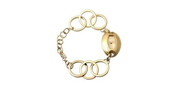 Dámske hodinky Mango so zlatým ciferníkom i remienkom z oceľe