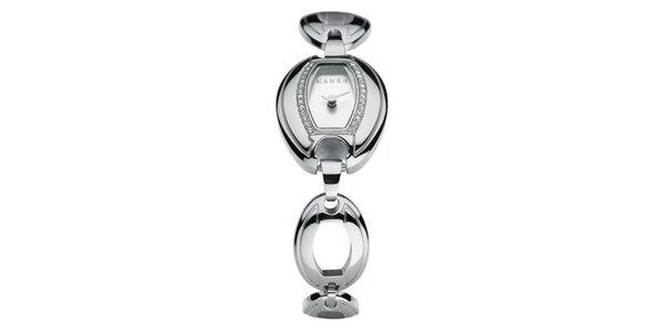 Dámske hodinky Mango s bielym ciferníkom, osadeným sklenenými kamienkamia…