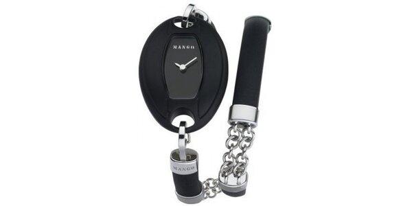 Dámske hodinky Mango s čiernym ciferníkom a PVD povlakem, remienkom z oceľi,