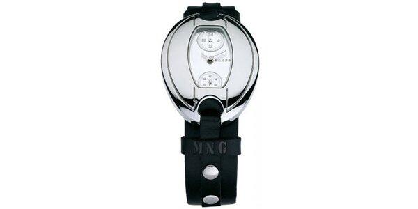 Dámske hodinky Mango s bielym 24hodinovým ciferníkom a čiernym koženým remienkom