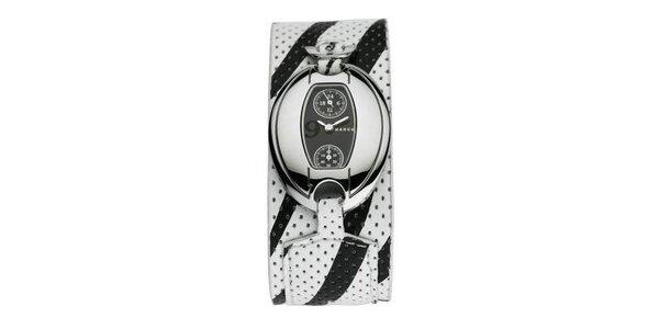 Dámske hodinky Mango s čiernym 24hodinovým ciferníkom, a čierno/bielym koženým…