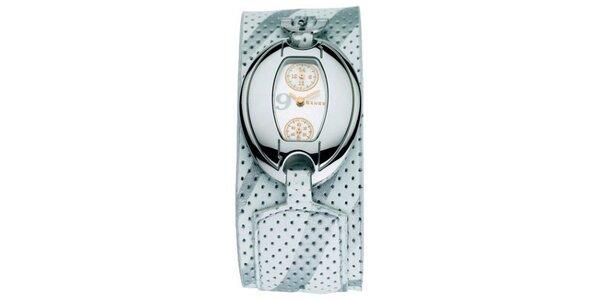 Dámske hodinky Mango s bielym 24hodinovým ciferníkom a bielym koženým remienkom