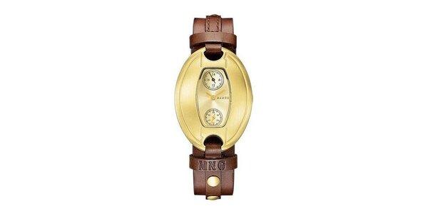 Dámske hodinky Mango so zlatým ciferníkom a hnedým koženým remienkom