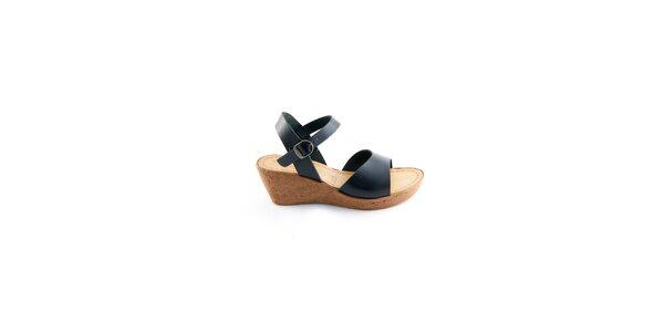 Dámske čierne kožené sandálky Miss Butterfly