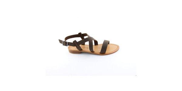 Dámske tmavo hnedé remienkové sandálky Miss Butterfly