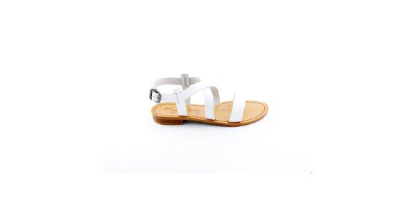 Dámske biele remienkové sandálky Miss Butterfly
