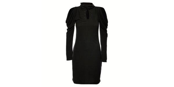 Dámske tmavo šedé úpletové šaty Gas s kamienkami