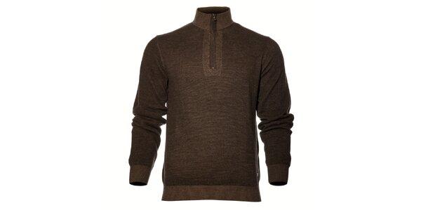 Pánsky tmavo hnedý sveter Gas so zipsom