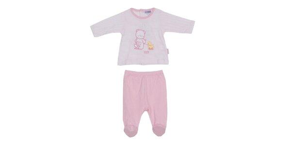 Detský ružovo-biely set nohavíc a trička Yatsi