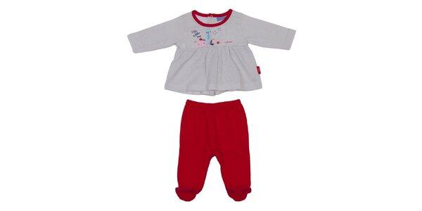 Detský červeno-šedý set nohavíc a trička Yatsi