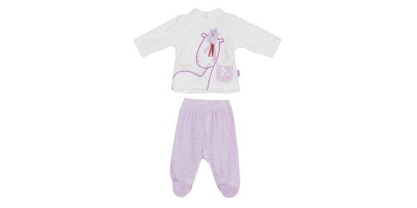 Detský fialovo-biely set nohavíc a trička Yatsi