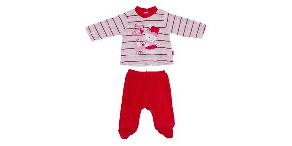 Detský červeno-šedý pruhovaný set nohavíc a trička Yatsi