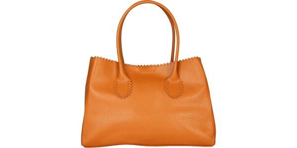 Dámska ťavia kožená kabelka Made in Italia s ozdobným lemom