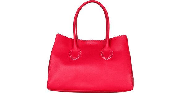 Dámska fuchsiová kožená kabelka Made in Italia s ozdobným lemom