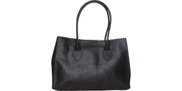 Dámska čierna kožená kabelka Made in Italia s ozdobným lemom