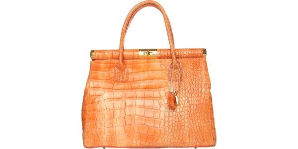 Dámska oranžová kabelka Made in Italia s motívom hadia koža
