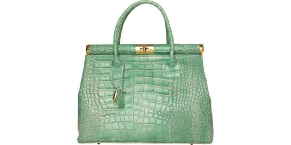 Dámska mätovo zelená kožená kabelka Made in Italia s ozdobným lemom