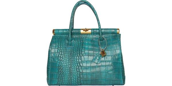 Dámska tyrkysová kožená kabelka Made in Italia s ozdobným lemom