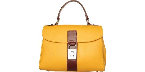 Dámska žltá kabelka Made in Italia s hnedými detailami