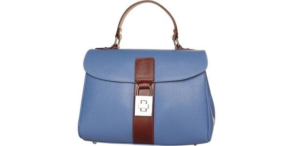 Dámska pastelovo modrá kabelka Made in Italia s hnedými detailami