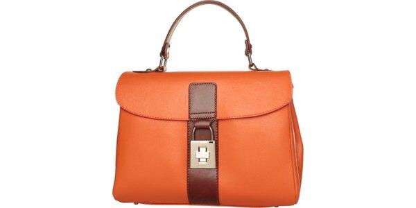 Dámska oranžová kabelka Made in Italia s hnedými detailami