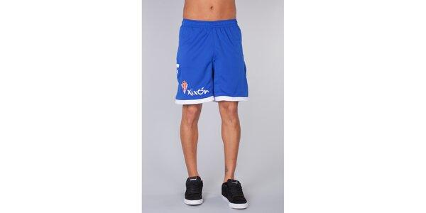 Pánske modré krátke nohavice s bielymi lemami Kappa